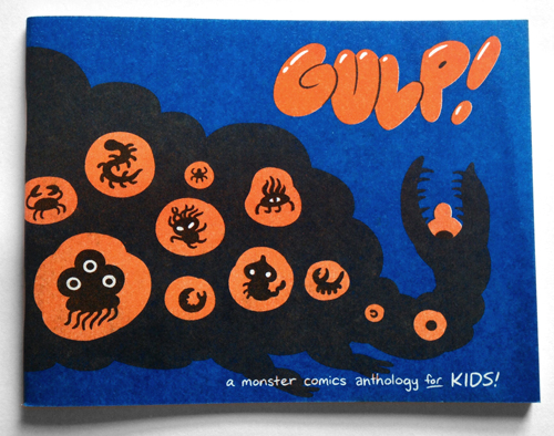 The Gulp Anthology is  hand-made risograph of blue and orange